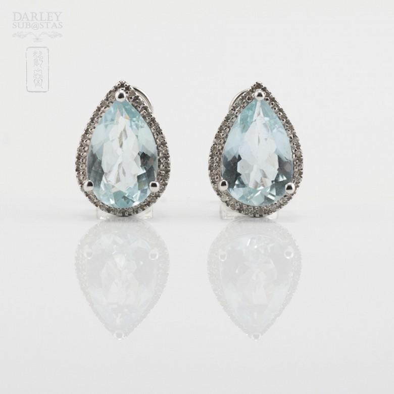 4.81克拉海蓝宝石配钻石18K白金耳环 - 3