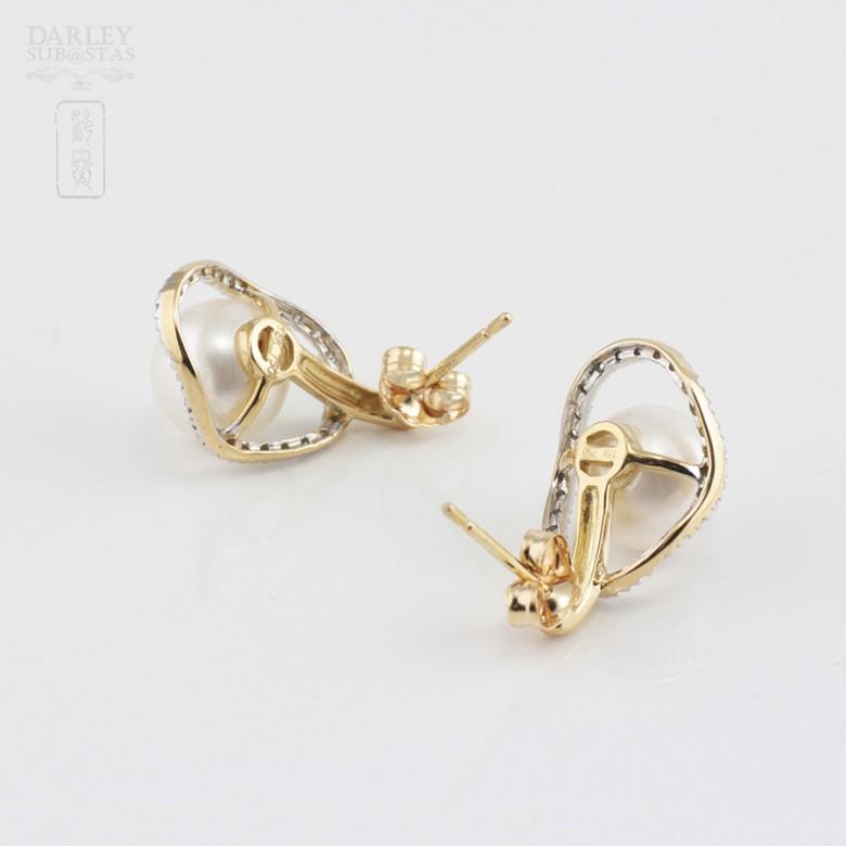 18K黄金配圆白珍珠钻石耳环 - 3