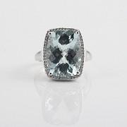 10.09克拉海蓝宝石配钻石18K白金戒指 - 1