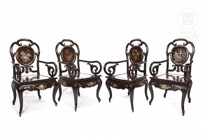 Four rosewood chairs, China, 20th c.