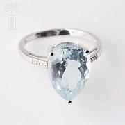 4.19克拉海蓝宝石配钻石18K白金戒指 - 2