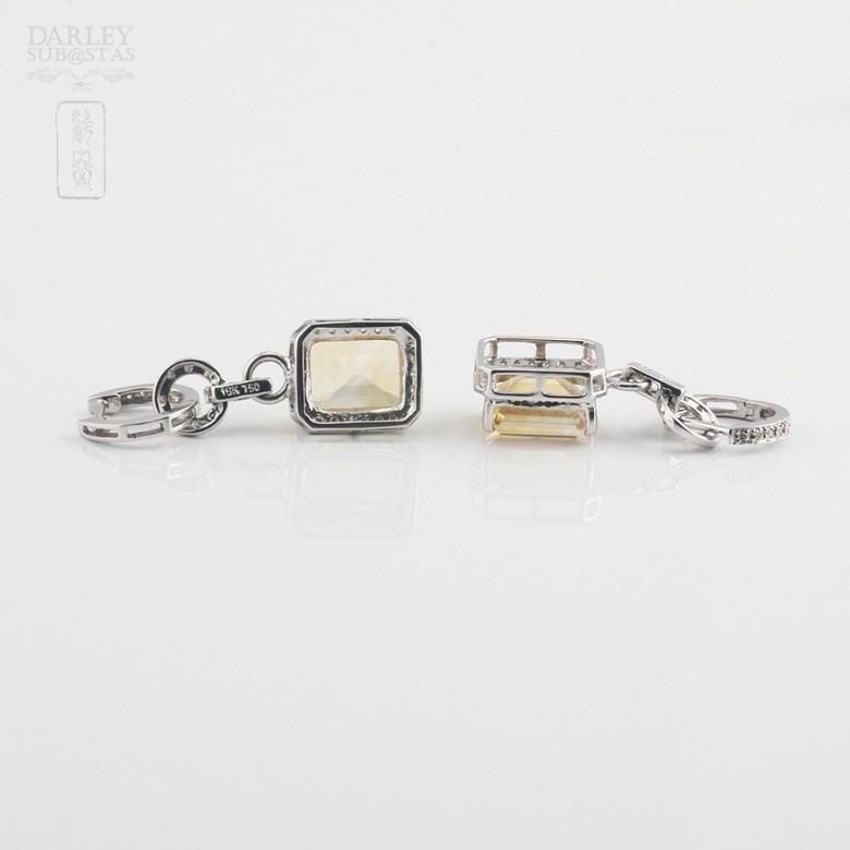 Pendientes largos con citrino 6.34cts y diamantes en oro blanco - 1