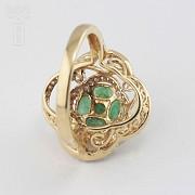 18K黄金镶钻石配祖母绿戒指 - 3