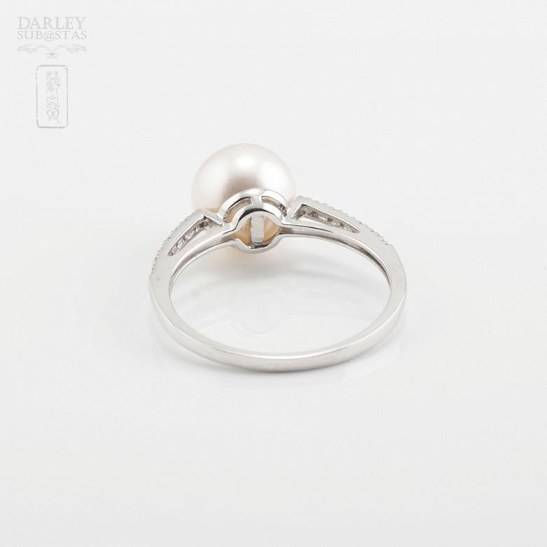 Anillo perla natural en oro blanco y diamantes - 3