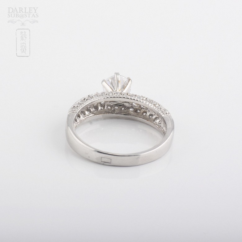 Ring in sterling silver, 925m / m, with rhodium. - 2