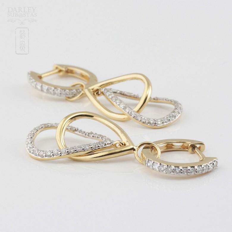 18K黄金镶0.70克拉钻石耳环 - 2