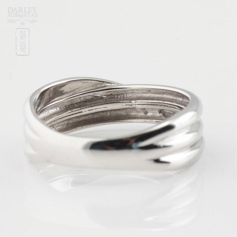 Precioso anillo oro blanco 18k y 0.14cts diamantes - 3