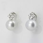 18K白金镶钻石配南洋珠耳环