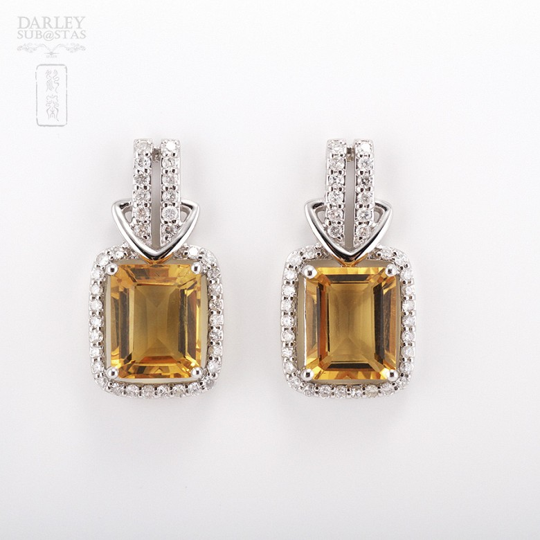 Excelentes pendientes de 18k oro blanco citrino con diamantes