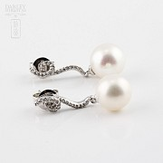 earrings pearl and diamond in 18k white gold - 2