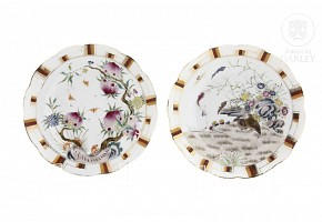A famille rose pair of dishes, China, 20th century