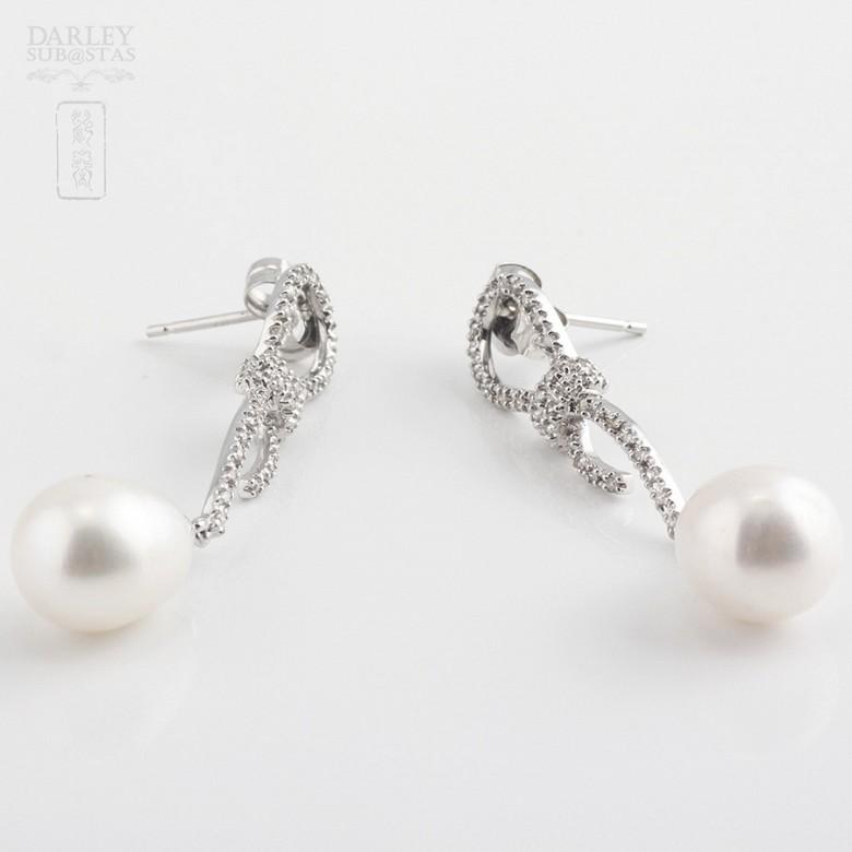 Pendientes perla natural y diamantes  en oro blanco - 1