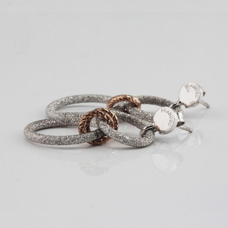 Earrings in sterling silver bicolor, 925 m / m - 1