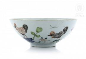 Porcelain enameled bowl, 20th century