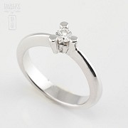 18k白金镶 0.16 克拉鑽石戒指