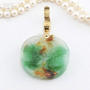 日本海珠挂玉牌镶红宝钻石项链 - 4