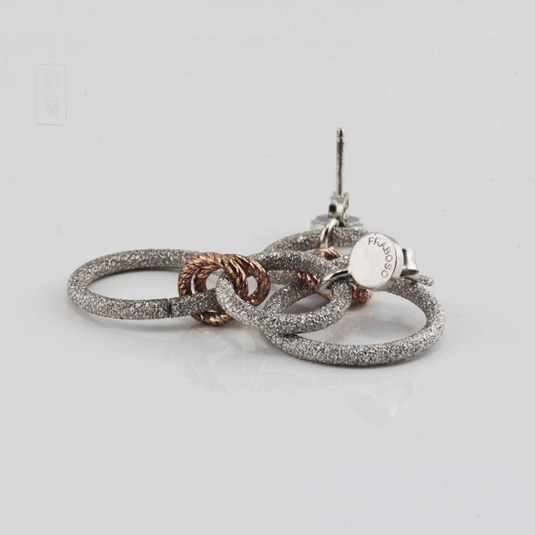 Earrings in sterling silver bicolor, 925 m / m - 2