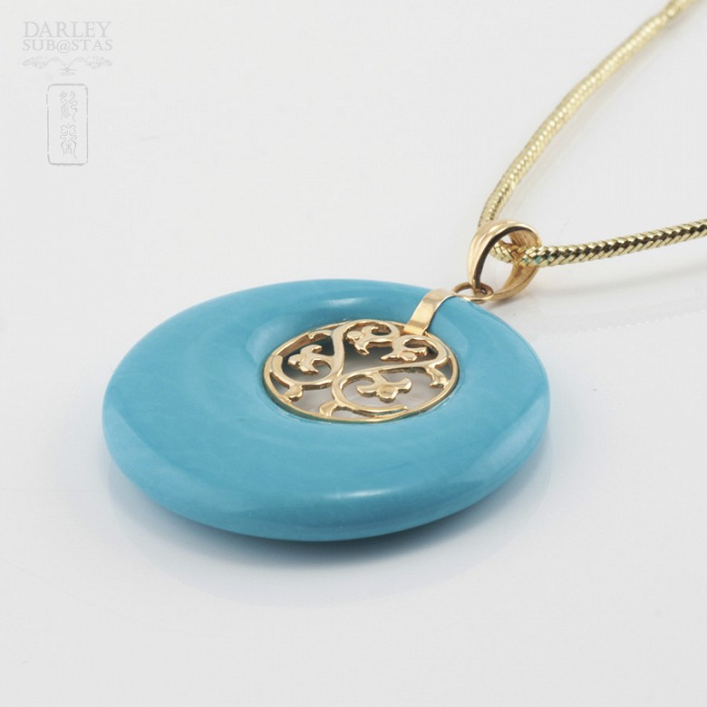 Original pendant in 18k gold and natural turquoise - 2