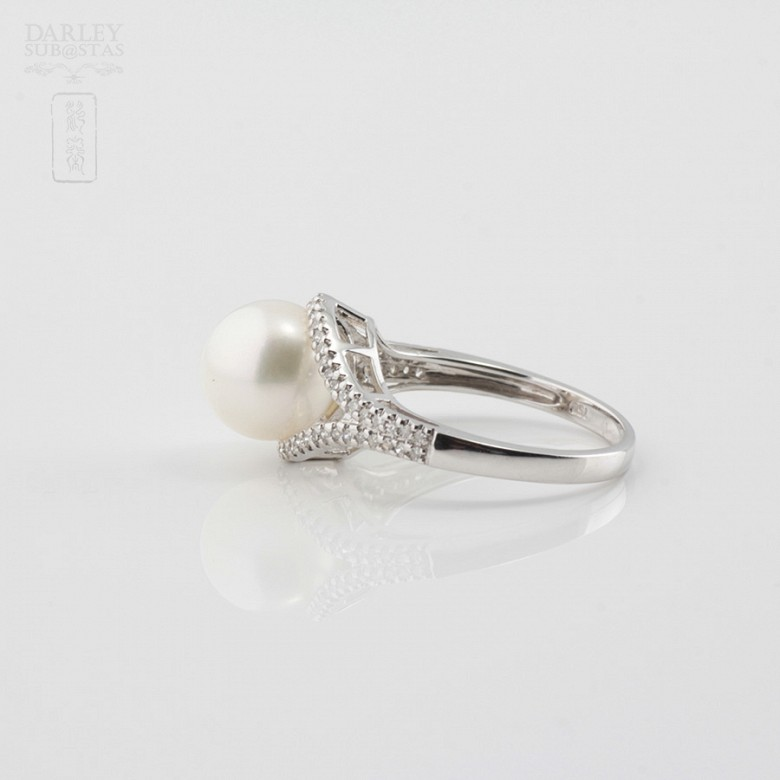 Nice ring with pearl and diamonds - 2