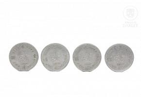 Four one-dollar coins, Hong Kong, 1960