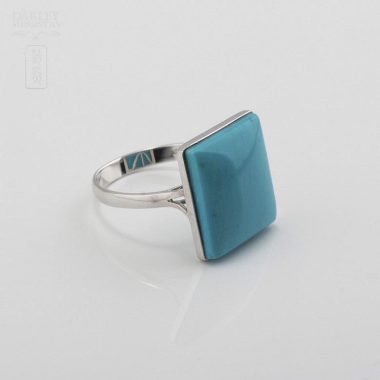 Ring Natural Turquoise  in 18k White Gold - 3