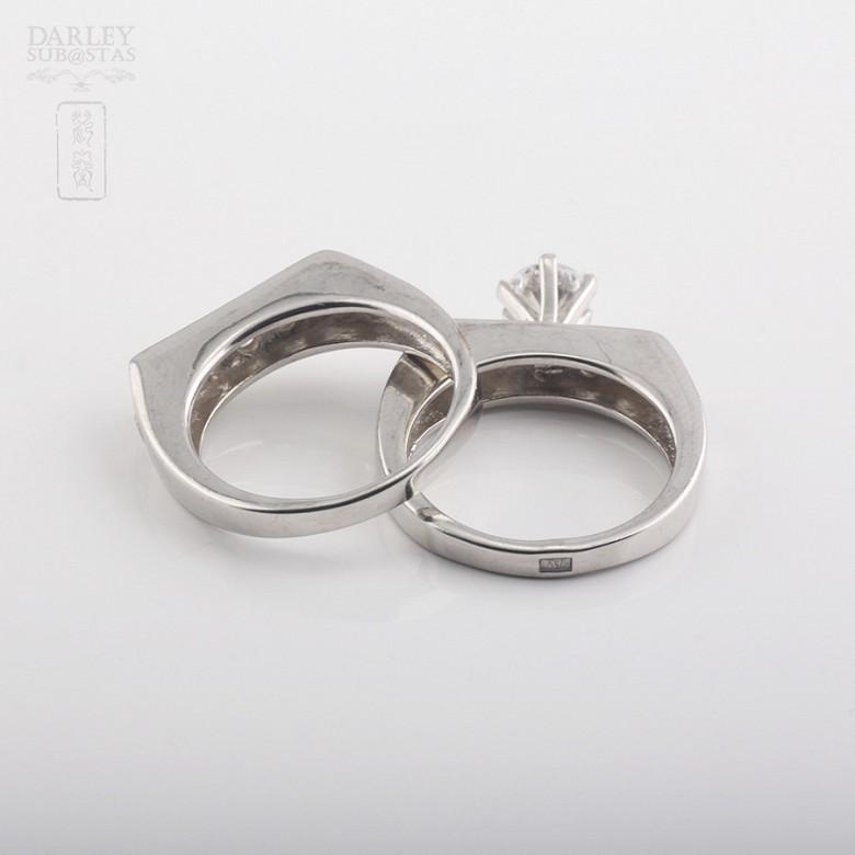 925银配锆石镀白金戒指 - 1