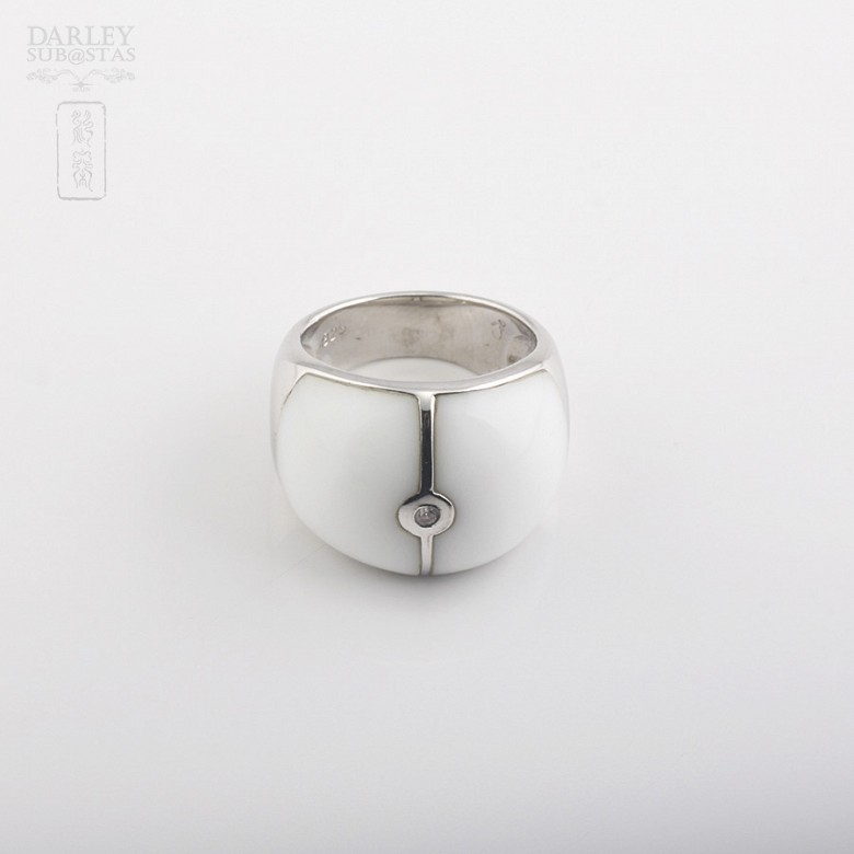 Ring Porcelain  in sterling silver, 925 - 2