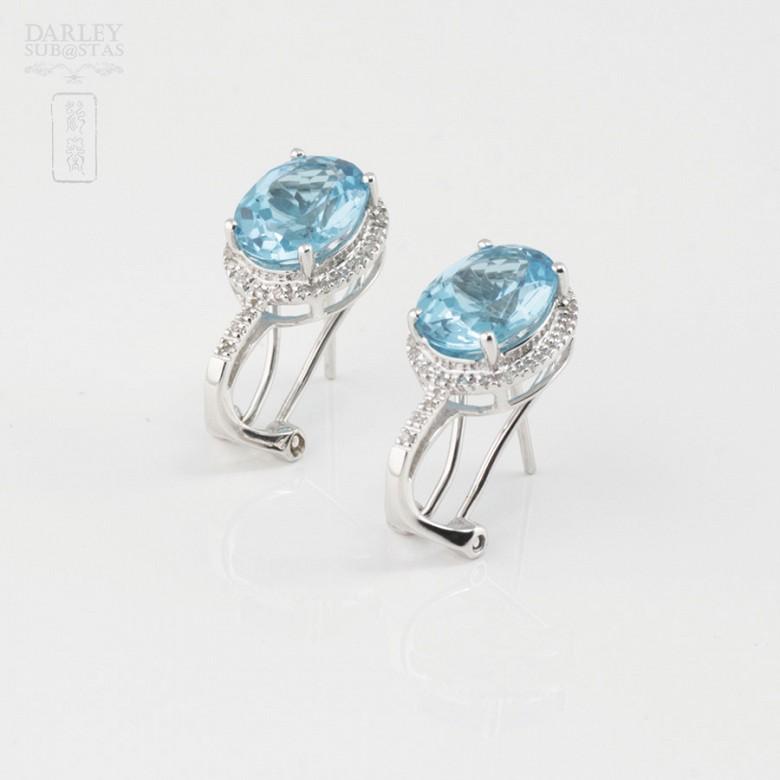 18K白金镶钻石配蓝晶耳环 - 2