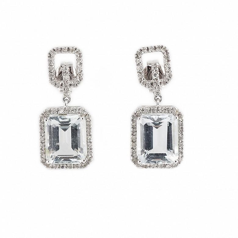 Pendientes en oro blanco de 18k con aguamarinas y diamantes