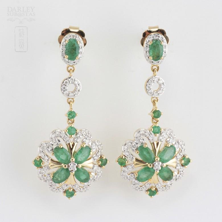 18K黄金镶钻石配祖母绿耳环