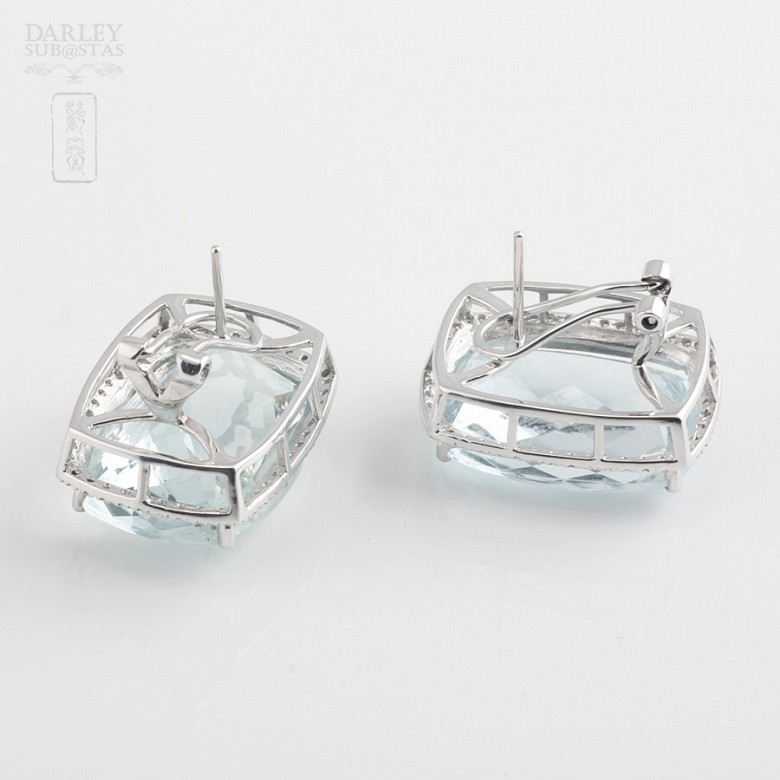 36.29克拉海蓝宝石配钻石18K白金耳环 - 2