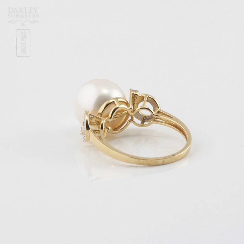 Nice ring with pearl and diamonds - 3