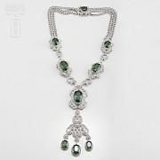 Faller dressing emerald green and silver Rhodium - 3