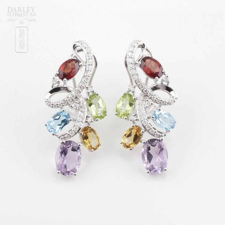 Fantásticos pendientes en oro blanco 18k con gemas semipreciosas y diamantes - 4