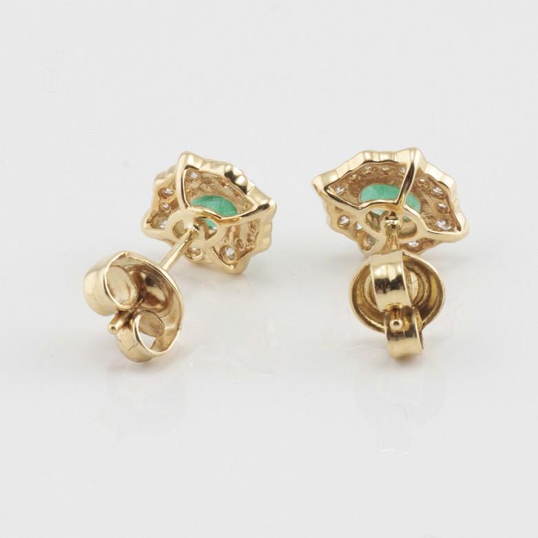 18k gold earrings, emerald and diamonds - 1