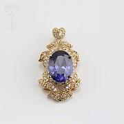 Aderezo de Fallera color azul Zafiro y dorado - 7