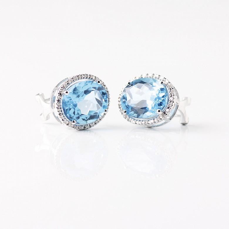 pendientes topacios azul 12,44 cts en oro blanco de 18k y diamantes - 2
