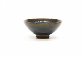 Cuenco de cerámica esmaltada, estilo Junyao, azul oscuro.