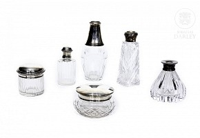Lot of glass and silver vessels, 20th century med.s.