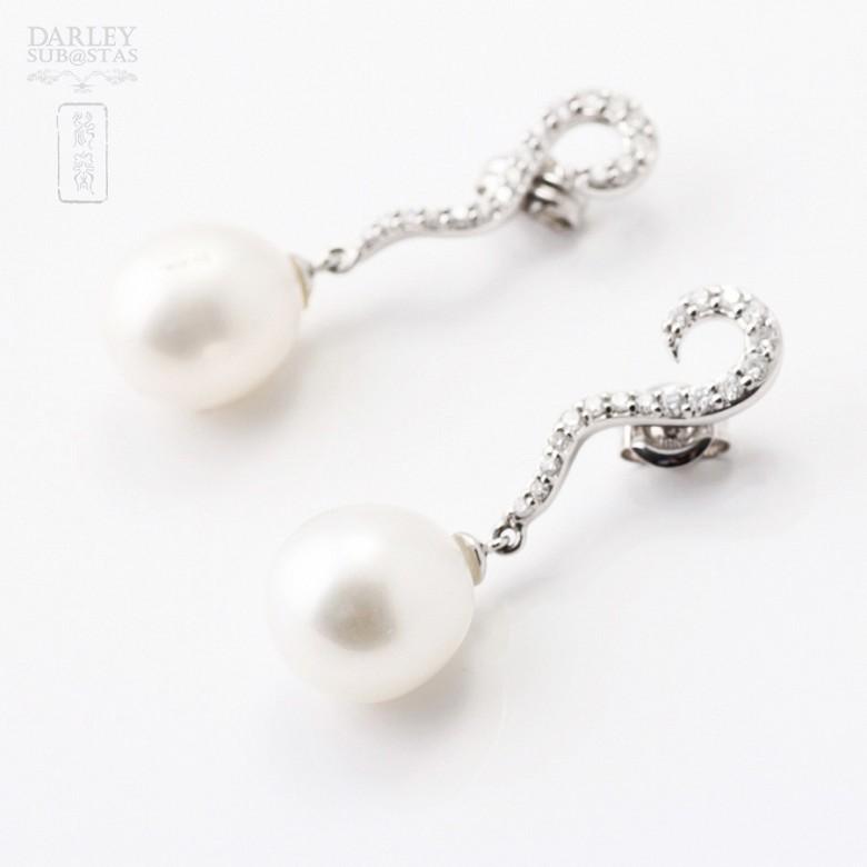 18克白金耳环镶0.35克拉钻石配挂圆珍珠 - 1
