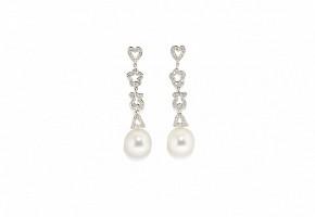 Pendientes en oro blanco de 18k, perlas y diamantes, TOUS