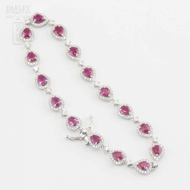 18k white gold bracelet with rubies and diamonds. - 3
