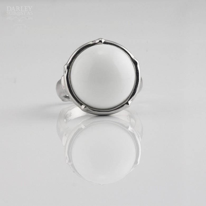 Anillo porcelana blanca en plata 925m/m - 3