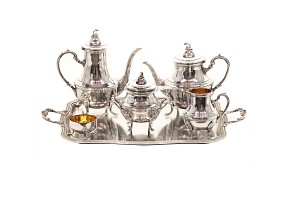 Complete silver tea set, Louis XV style, 20th century