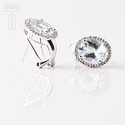 2.94克拉海蓝宝石配钻石18K白金耳环 - 1