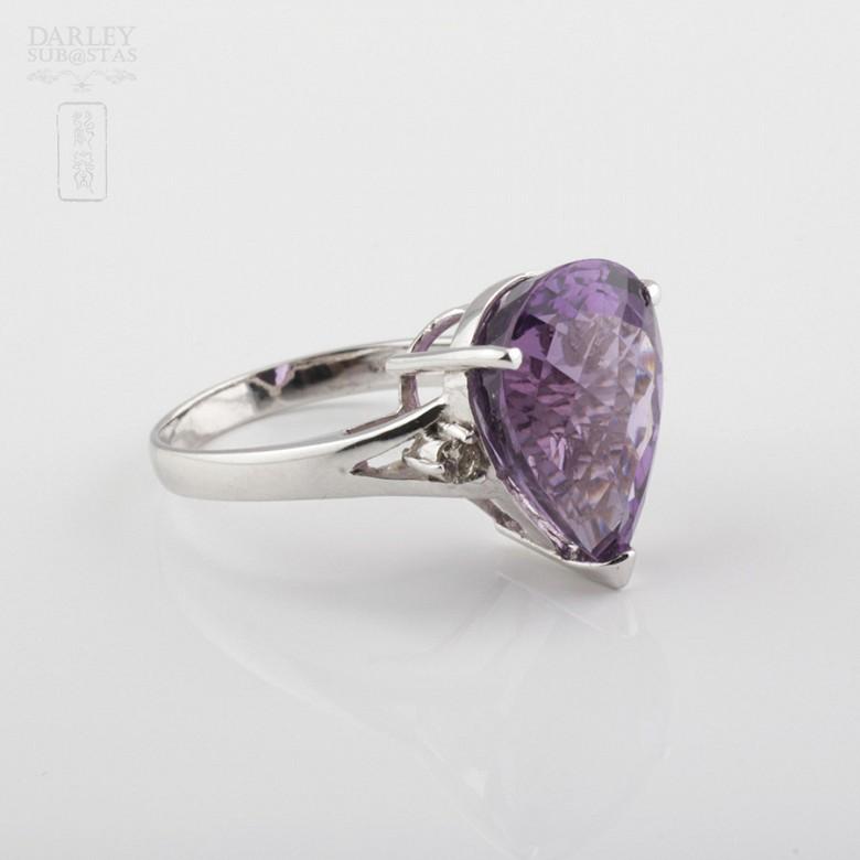 18k白金镶钻石配 深色紫晶戒指 - 1