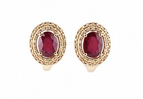 Pendientes en oro rosa de 18k y diamantes