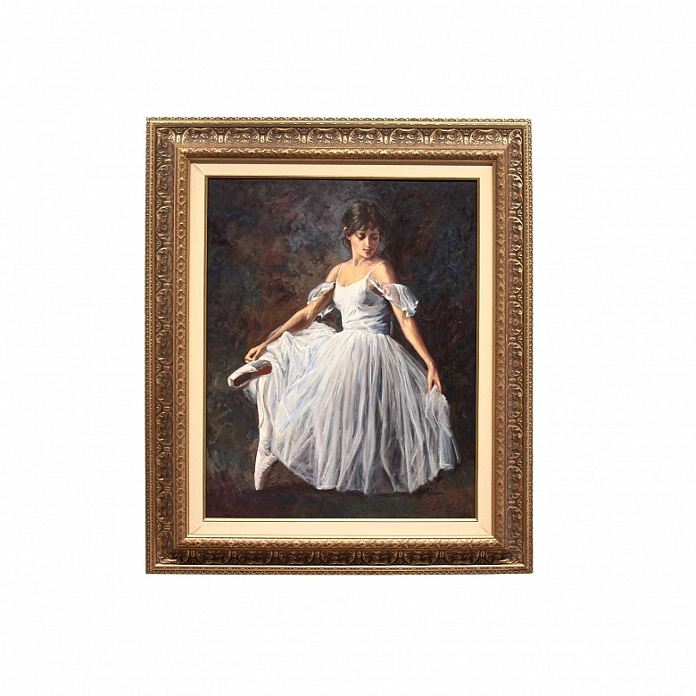 """何塞·路易斯·吉納(JoséLuísGiner)的繪畫(20世紀)"""" Dancer""""油畫在畫布上。簽名。"""