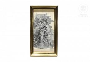 Romantic scene in grisaille woven in silk, ca.1900.