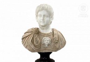 Carved marble bust,